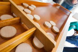Dutch Game With Wooden Discs Dutch family game sjoelen stock image Image of play 100 17