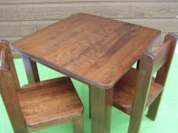 good teak wood children table and chair sets with square shaped playing table and a pair
