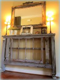 narrow foyer table. Distressed Wooden Narrow Foyer Table From Reclaimed Wood Placed Under Vintage Mirror Frame Idea Y