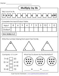 Multiplication Worksheets Basic Facts With 8 As A Factor