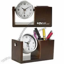 wooden desk clock with pen holder