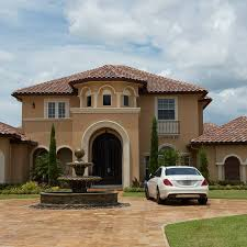 red tile roof on florida spanish revival architecture