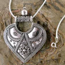 sterling silver pendant necklace mighty heart sterling silver necklace indian ethnic jewelry