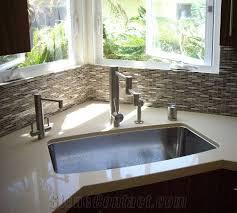 quartz stone countertop glass mosaic backsplash