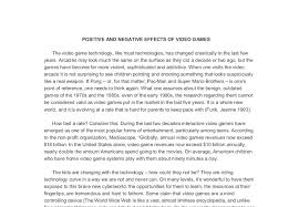 positive and negative effects of video games the video game document image preview