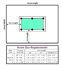 Pool Table Sizes Chart Room Size For Pool Table Fahridecorating Co