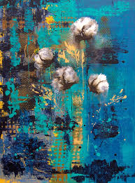blue print painting blue rain abstract flower by catherine jeltes