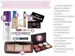 list for 9 item everyday minimalist capsule makeup collection