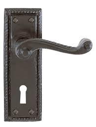 antique black georgian door handle with keyhole pair 59 04