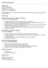sample resume warehouse clerk resume exle for employment    sample resume warehouse clerk resume exle for employment