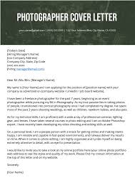 Portfolio Cover Letter Example Photographer Cover Letter Example Writing Tips Resume Genius