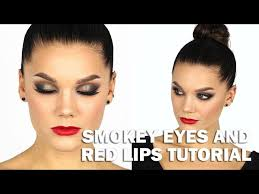 clic black smokey eye makeup red lipstick tutorial