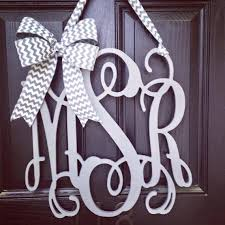 20 inch 3 letter wooden front door monogram with bow gray monogram monogram letters for front door 1 1