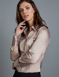 women s taupe fitted satin shirt single