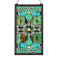 stained glass pane river of goods inch x inch style stained glass pane green free