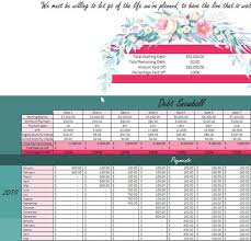 Debt Snowball Debt Calculator Dave Ramsey Debt Spreadsheet Debt Tracker Debt Payoff Debt Planner Floral Excel