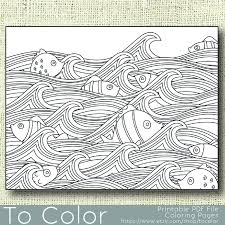 Small Picture Printable Waves and Fish Coloring Page for Adults PDF JPG