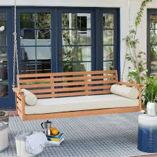 Porch Swing Bed Deep Seat Wood Porch Swing Outdoor Bed With Cushion And 2 Bolster