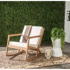 safavieh vernon teak brown outdoor patio rocking chair with beige chairs oversized cushion pads set ikea
