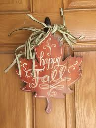 rustic fall leaf door hanger could be made from a single piece of wood