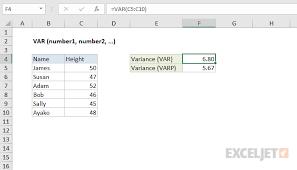 Variance Formula How To Use The Excel Var Function Exceljet