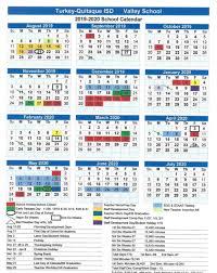 Turkey Quitaque Isd 2019 2020 Valley School Calendar