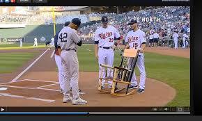 mariano rivera presented with broken bat chair by twins photo amazing baseball bat rocking