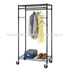 Rolling Coat Rack With Shelf Enchanting 32Tier Rolling Clothing Garment Rack Shelving Wire Shelfbronze