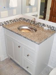 ... Backsplash Ideas, Glass Tile Backsplash In Bathroom Bathroom Vanity  Backsplash Or Not Glass Tile Backsplash ...