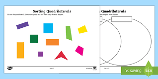 Venn Diagram Of Quadrilaterals Sorting Quadrilaterals Worksheet Activity Sheet Sorting Sort Venn