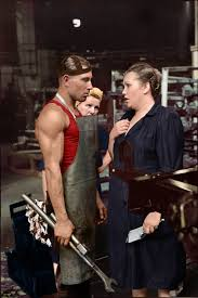 worker and supervisor at a car factory moscow 1954 a worker and female supervisor moscow 1954