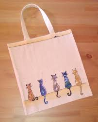 hand painted canvas bag by paintbrushandpen on