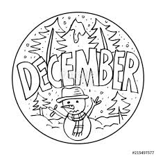 December Coloring Pages For Kids Stock Photo And Royalty Free
