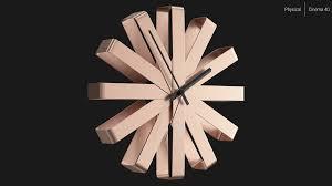 wall clock umbra ribbon copper 3d