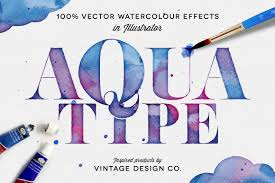 free watercolor brushes illustrator aquatype vector watercolor effects actions creative market