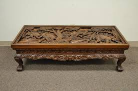 20th century vietnamese hand carved asian coffee low table with elephant scene for 4