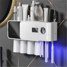 Sạc USB UV Bàn Chải Đánh Răng Máy Tiệt Trùng Bàn Chải Đánh Răng Lưu Trữ Bộ  Với Cốc Tường Nhà Tổ Chức Hộp Tự Động Kem Đánh Răng Vắt 