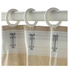 portion curtain ring with clip and hook white stained diameter 1 7 8
