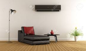 Minimalist Living Room Minimalist Living Room With Couch And Air Conditioner On Wall