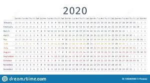 Linear Calendar 2020 Vector Illustration Template Diary