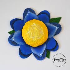 Paper Mache Flower Blue Flower Wall Decor Paper Mache Flower Art Spring Super Text
