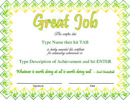 Good Job Template Great Job Certificate Templates Estudiocheirodeflor Com