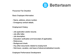Employee File Checklist Personnel File Template Free Download