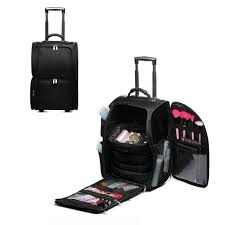 soft sided trolley case makeup bag make up cosmetic beauty professional black