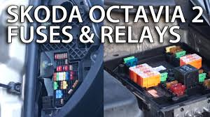 where are fuses and relays located in skoda octavia ii location of fuses and relays in skoda octavia ii there are two main locations for the fuse boxes one under the hood on the drivers side one under the