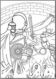 古代の闘技場で戦う男性のイラスト大人の塗り絵テンプレート素材