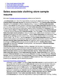 Fillable Online Mo3mo Serveblog Sales Associate Clothing Store
