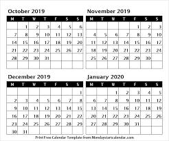 October November December 2019 January 2020 Printable Calendar
