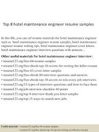 Hotel Maintenance Engineer Sample Resume 16 Uxhandy Com