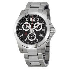 longines conquest chronograph black dial men s watch l37004566